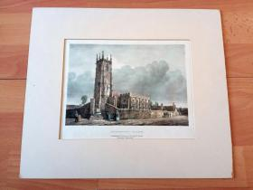 19世纪手工上色石版画《英国中世纪建筑:卡伦顿教堂(卡伦顿战役古战场)》(CULLOMPTON CHURCH)-- 1746年流亡在外的英俊王子查理回到英国,率领苏格兰高地起义军为复辟斯图加特王朝和汉诺威王朝的政府军在此展开激战 -- 出自Charles hullmandel(1798-1863)绘画作品 -- 雕刻师:William Spreat -- 卡纸画框37*31厘米,版画31*23厘米