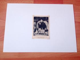 1913年书页照片《外蒙古藏传佛教活佛:哲布尊丹巴呼图克图(哲布尊丹巴,藏族人)》(DEN UPPRORISKE BUDDHISTRPAFVEN I URGA,TIBETANEN)-- 哲布尊丹巴呼图克图是漠北蒙古藏传佛教最大的活佛世系,1921年7月10日,在库伦以哲布尊丹巴为皇帝的蒙古君主立宪政府正式成立并宣布独立 -- 选自《中国民国开端》--后附卡纸30*21厘米,照片10.5*7.5厘米