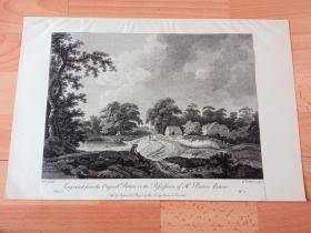 18世纪铜版蚀刻版画《田园牧歌》(DIE WEIDE)-- 出自18世纪法国风景画家,阿德里安·凡·德·韦夫(Nicholas Tull,?-1762)的绘画作品 -- 雕刻师:William Elliott(1755–1792,英国雕刻大师) -- 英国伦敦康希尔国王之臂艺术画廊(Kings arms)出版发行 -- 后附卡纸42*28厘米,版画纸张31*22厘米