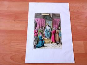 """1824年手工上色飞尘美柔汀铜版画《阿尔弗雷德大帝的加冕》(The coronation of Alfred the great)-- 阿尔弗雷德大帝(849-899),是盎格鲁-撒克逊英格兰时期威塞克斯王国国王,也是英国历史上第一个以""""盎格鲁-撒克逊人的国王""""自称且名副其实之人 -- 出自葡萄牙出版商G. Ferrarios出版《古代历史与现代艺术》一书 -- 版画纸张37*26厘米,制作精美"""