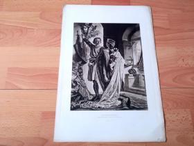 1884年照相凹版《骑士的信仰:骑士伊沃拒绝海德薇公主的求爱》(HEDWIG AND IVO)-- 取材于德国中世纪的英雄史诗,伊沃是13世纪上半叶的骑士,腓特烈二世皇帝的侍从,曾参加拯救耶路撒冷的十字军东征;后来伊沃发现自己在宫中成为别人的附庸,因此决定离开,而皇帝侄女海德薇却爱上了他,公主反对他的离开,甚至认为这是对她自己的侮辱 -- 美国Gebbie艺术公司出版 -- 版画纸张43*30厘米