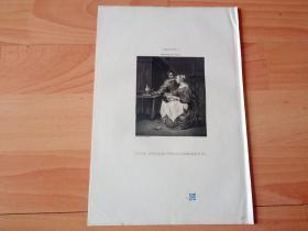 1821年铜版画《家庭生活场景:刺绣的女人与饮酒的男人》(DIE SPIZENMACHERINN)-- 出自17世纪荷兰黄金时代著名风俗画家,加布里埃尔·梅特苏(Gabriel Metsu,1629-1667)的油画作品 -- 维也纳美景宫画廊出版 -- 版画纸张26*18厘米