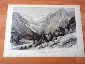 1884年大幅木刻版画《风景画:巴伐利亚阿尔卑斯山脉群峰》(Aus den bayrischen Alpen:Die Soiernspitze und das Konigshaus an den Soiernseen)-- 巴伐利亚阿尔卑斯山脉属于中阿尔卑斯山脉的东北部分,横亘在德国和奥地利边境 -- 版画纸张41.5*27厘米