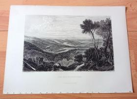 【透纳】1880年钢版画《风景画:阿什伯纳姆的淡水河谷》(THE VALE OF ASHBURNHAM)-- 出自英国浪漫主义画家,西方艺术史上最伟大的风景画家,威廉·透纳(William Turner)作于1818年的水彩画作品 -- 画作描绘了英格兰北约克郡,阿什伯纳姆河谷的秀美风光,阿什伯纳姆的名字来源于当地中世纪的古老河流ash-stream -- 选自透纳画廊 -- 版画36*27厘米