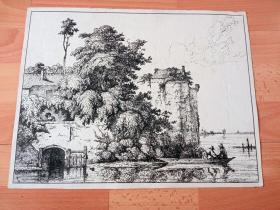 约1770年铜版蚀刻版画《风景画:湖上城堡与渔船》(Burganlage an See mit Fischerboot)-- 版画纸张39*30厘米