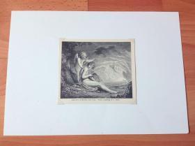 19世纪木刻版画《神的发明:赫尔墨斯发明里拉琴》(MERCURY INVENTING THE LYRE)-- 出自18世纪爱尔兰著名古典主义画家,詹姆斯·巴瑞(James Barry,1741–1806)作于1774年的油画,藏于英国佩特沃斯庄园 -- 赫尔墨斯是古希腊神话中的商业、旅者和畜牧之神,对应罗马神话中的墨丘利,传说他发明了尺、数和字母 -- 后附卡纸30*21厘米,版画13*11厘米