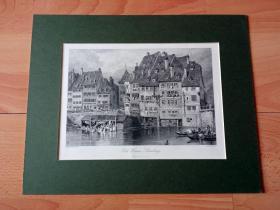19世纪钢版画《莱茵河畔的斯特拉斯堡古城,法国》(Old Houses,Strasburg)-- 斯特拉斯堡位于法国东北部,莱茵河西岸,东与德国巴登-符腾堡州隔河相望;市区中心被莱茵河的支流伊尔河围绕起来,被称之为小法兰西岛 -- 卡纸画框36*28.5厘米,版画纸张32*23厘米