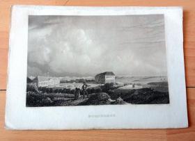 19世纪钢版画《诺德尼岛的北海矿泉浴场,德国下萨克森州》(NORDERNEY)-- 诺德尼岛是位居博尔库姆岛 (Borkum) 之后的东弗里斯兰群岛第二大岛,是北海著名的疗养胜地,属于下萨克森北海浅滩国家公园,以海水浴疗养和海水理疗而闻名 -- 版画纸张20*14厘米