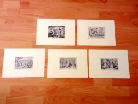 19世纪木刻版画五幅合拍《人类史诗:经典场景4》(Die Auferweckung des Lazarus;Daniel in der Lowengrube)-- 说传中的神迹、狮穴中的丹尼尔、浪子回头、拉撒路的复活等 -- 后附卡纸30*21厘米,每幅版画纸张13.5*10.5厘米