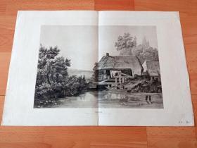 """19世纪巨幅蚀刻版画《风景画:水乡田园》(Glasdruck)-- 雕刻师:Max Joseph Auer(德国,1795–1878)-- 本画采用""""玻璃蚀刻""""工艺 -- 版画纸张54*37厘米"""