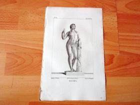 1814年铜版画《西方艺术史经典雕塑:狄俄倪索斯(酒神像)》(BACCHUS)-- 出自公元2世纪的古罗马时期大理石雕塑,整座雕塑高达2.08米,发掘于意大利,现藏于法国巴黎卢浮宫博物馆;狄俄倪索斯是希腊神话中的酒神,宙斯的儿子,在葡萄丰收的时节为人们带来欢乐,相当于罗马神话中的酒神巴克斯 -- 选自《法国博物馆藏画集,编号84》-- 版画纸张27*17.5厘米