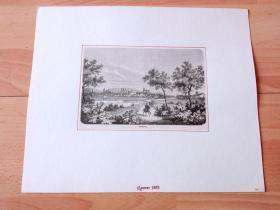 """19世纪木刻版画《风景画:雷格尼茨河和美茵河汇流处的千年古城,班贝格,德国巴伐利亚州》(Bamberg)-- 班贝格位于巴伐利亚北部的上弗兰肯地区,建城于公元1007年,是一座拥有千年历史的古城;班贝格也是一座大学城(因班贝格大学闻名)和总教区驻地;班贝格由河流贯穿,水景与建筑融合,雷格尼茨河岸与民居形成的地景,有""""小威尼斯""""之美称 -- 后附卡纸30*25厘米,版画纸张17*11.5厘米"""