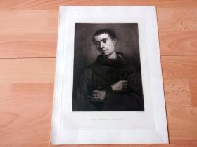 1881年铜版蚀刻《神父》(EIN MONCH)-- 出自19世纪著名德国画家,现实主义画派的代表人物之一,弗朗兹·冯·德弗雷格(Franz von Lenbach,1836-1904)的绘画作品 -- 雕刻师:Wilhelm Hecht -- 奥地利维也纳艺术画廊出版发行 -- 版画纸张34*26厘米