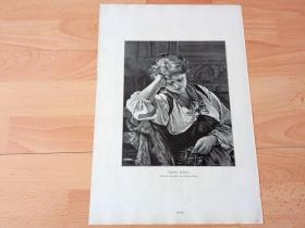 1884年大幅木刻版画《睡美人》(Ruhendes Madchen)-- 出自19世纪德国画家,卡尔·迪瑟姆·迈耶(Carl Diethelm Meyer,1840–1884)的油画作品 -- 版画纸张41.5*27厘米