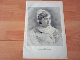 1881年大幅木刻版画《冰美人》(Ingeborg)-- 版画纸张41*28.5厘米