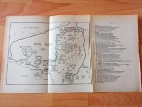 民国老地图《清代北京皇家夏宫:京郊颐和园平面图》(THE SUMMER PALACE)-- 颐和园坐落在北京西郊,距城区15公里,与圆明园毗邻;是以昆明湖、万寿山为基址,以杭州西湖为蓝本,汲取江南园林的设计手法而建成的一座大型山水园林,也是保存最完整的一座皇家行宫御苑 -- 附各建筑说明 -- 地图纸张34*19厘米