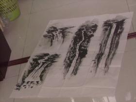 保真手绘精彩绘画一张----瀑布 多图