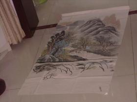 保真手绘精彩绘画一张----风景非常精彩 人在小桥上