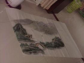 保真手绘精彩绘画一张----山区风景图 、石拱桥等等