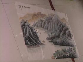 保真手绘精彩绘画一张----清江帆影;2009年第四幅