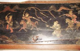 明清时期杨家将戏文彩色木板漆画