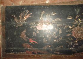 明清时期精美吉祥花卉禽鸟彩色木板漆画