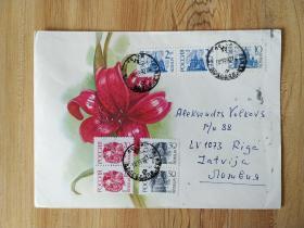 《外国集邮品收藏保真:苏联1992年名胜古迹骑士骏马邮票实寄封 背面落地戳》澜2107-14