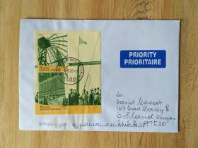 《外国集邮品收藏保真:联合国2000年联合国成立55周年 升旗仪式邮票小全张航空实寄封 内附明信片》澜2107-14