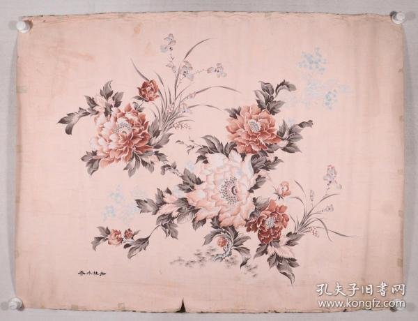佚名 作 《香水牡丹》被面原稿3幅一组(尺寸:最大87*114cm,最小50*28cm)HXTX331639