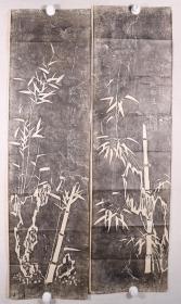 文-怀-沙旧藏:旧拓 郑板桥《竹影》两张(尺寸110*30cm*2)HXTX330913
