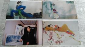 画廊出版用吉林艺术学院美术教授温国良人物画作品原版照片3张,带温国良教授作画原版照片。
