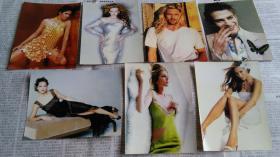 《电影世界》电影节目名人明信片式照片7张。