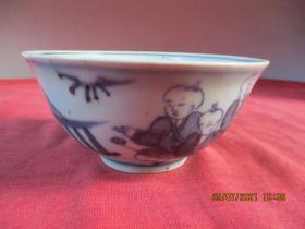 清朝瓷器,瓷碗一件,圓形,直徑11.5cm,高5.6cm,品好如圖。