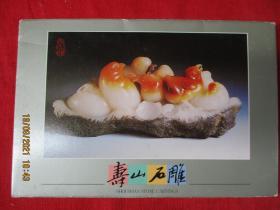彩色名信片10张全,带套,寿山石雕 ,品好如图。