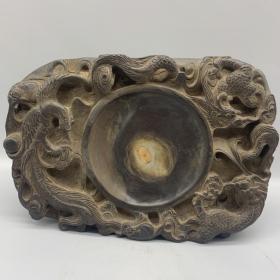 老石雕带字龙凤纹砚台 尺寸:24.5*27.5*4cm 重量:3045g