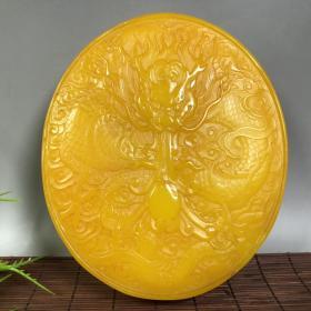 旧藏鸡油黄田黄石雕龙纹砚台,尺寸:14x12x3cm,净重:720.8克
