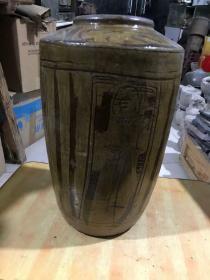 清代的四面人物大号酒罐子、包老完整
