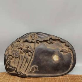 老石雕带字莲年有余荷花大砚台, 尺寸:30*19*4cm