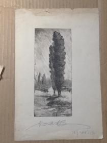 赵无极1963年作版画2幅 尺寸18/14厘米