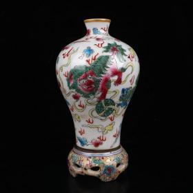 描金珐琅彩狮子图纹转瓶 高23.5cm宽12.5cm