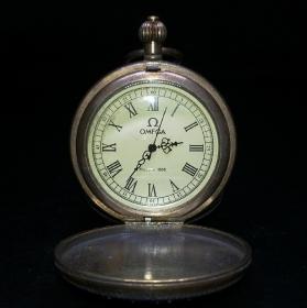 全自动机械双开铜怀表,能正常使用,重量173g