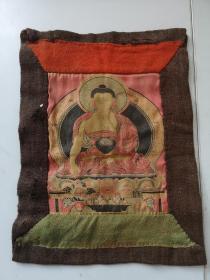 清代最晚民国 丝织锦锻制缂丝作 释迦摩尼佛像唐卡一幅 尺寸36/26厘米