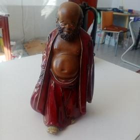 一代陶瓷宗师刘传珍品,布带和尚磁像雕塑一个,