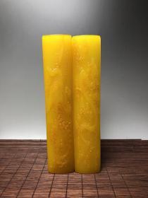 旧藏鸡油黄田黄石雕刻【龙凤呈祥】镇尺一对, 尺寸:20x4x3厘米x2个 净重:1124.8克