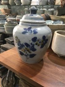 清末时期的磁州窑青花茶叶罐、包老完整