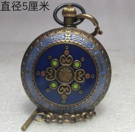 双开机械铜怀表,能正常使用,重量160g