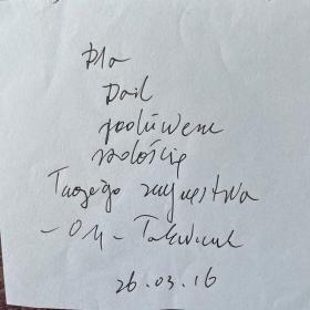 2018年诺贝尔文学奖得主托卡尔丘克亲笔短札(带签名)