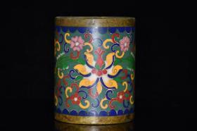 早期收藏 纯铜景泰蓝笔筒,尺寸:长8厘米 宽8厘米 高10厘米  重1283克