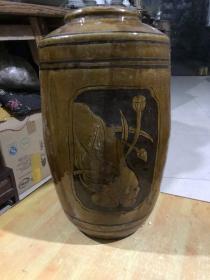 清朝时期的荷花鸳鸯大酒罐、包老完整