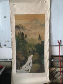 民国间 草秀绘绢本青绿山水国画一幅 尺寸55/110厘米